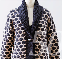 Strickmuster für einen langen Mantel in zwei Farben