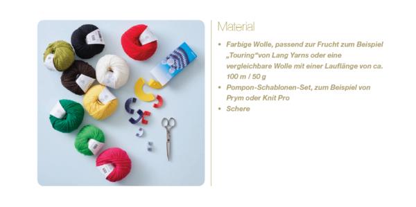 Material für Pompons Früchte