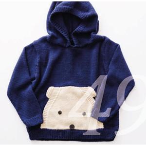 Strickmuster für einen Pullover mit einem Teddybär als Beuteltasche