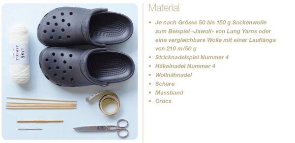 Materialliste für Crocsocken