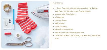 Materialliste für Sockenäffchen nähen